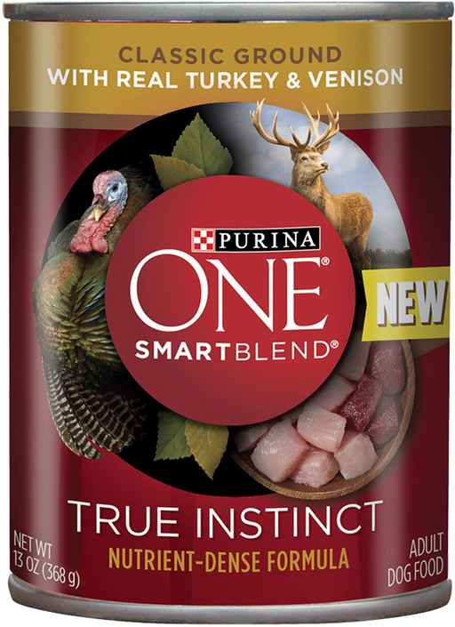 Purina ONE SmartBlend True Instinct with Grain Free Turkey and Venison Classic Ground Canned Dog Food