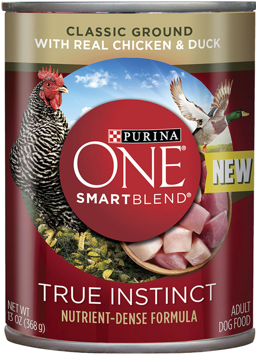 Purina ONE SmartBlend True Instinct with Grain Free Chicken and Duck Classic Ground Canned Dog Food