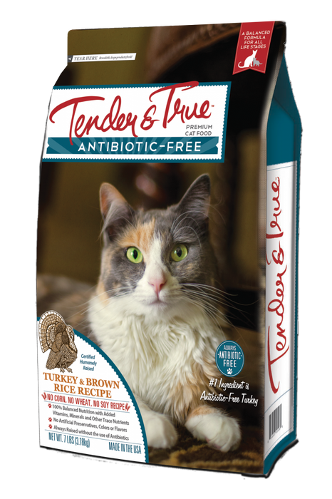 Tender & True Antibiotic-Free Turkey and Brown Rice Recipe Dry Cat Food