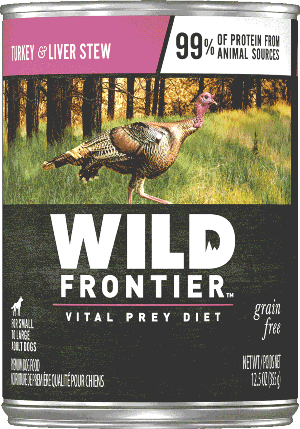 Wild Frontier Vital Prey Grain Free Turkey and Liver Stew Canned Dog Food