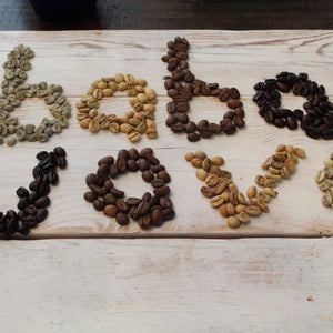 Coffee beans of different colors arranged to say Baba Java