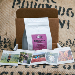 White whole bean Ethiopia coffee bag sits in a subscription coffee box with a brown coffee jute bag as the background