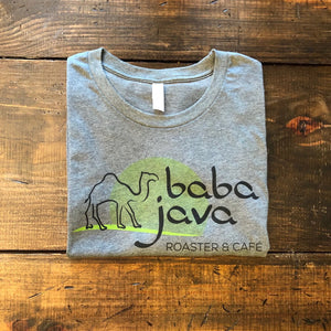 Gray Baba Java T-Shirt on a wooden background