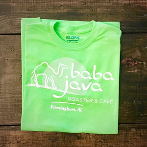 Green Baba Java T-Shirt on a wooden background