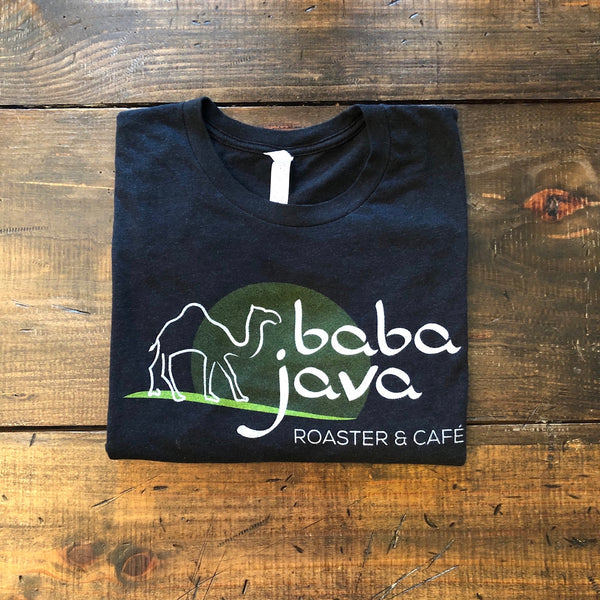 Black Baba Java t-shirt on a wooden background