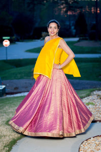 Banarsi Silk Georgette Skirt with Silk One Shoulder Top and Mukaish Work on border