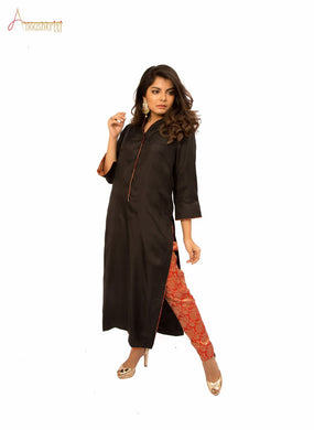 Black Silk High Collar Kurta Combined with Red Banarsi Pants