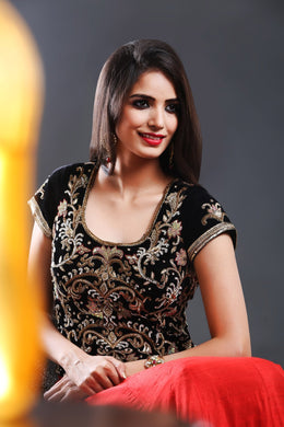 Black Velvette choli top with gold zardozi hand embroidery