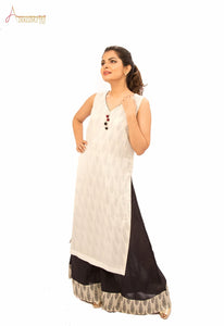 Black and White Kurta Flair Pant