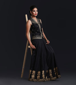 Black silk Khadi print lenga skirt with sequence embroidery and silk top with tissue tilla embroidery