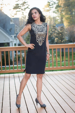 Crepe Silk Pencil Dress with Tilla Embroidery