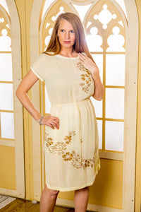 Georgette Dress with golden embroidery