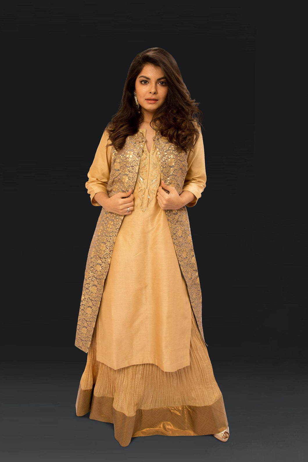 Gold Crinkled Silk Skirt with Kurta Zardozi embroidery and Chanderi Jacket