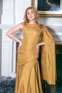 Gold Silk Block Printed Gown