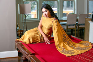 Gold Silk Embroidery Gown