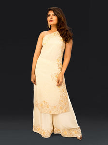 Ivory Georgette Dress with Tilla Detaling and Resham embriodery