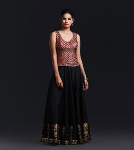Banarsi Brocade sleeveless Corset embelished with brass sequence
