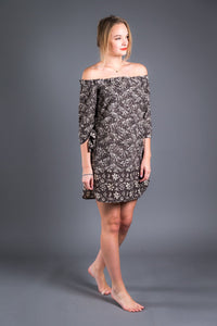 Bagru Print Off Shoulder Dress