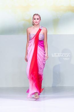 Red & Pink Ombre Silk Dress with pleating and sequence embroidery
