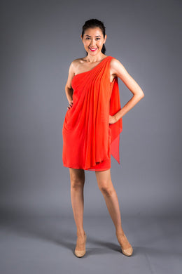 Orange Georgette Drape Dress