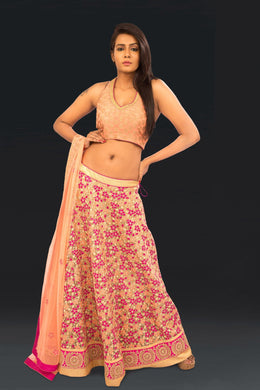 Pink Cutwork Lehnga with Banarsi Georgette Halter Blouse