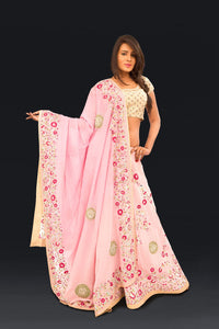 Pink Georgette Lehnga with Hand embroidery