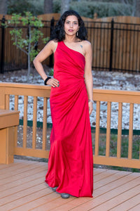 Red Pure Satin One Shoulder Ruched Dress