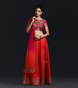 Red Raw Silk Lehnga Skirt with hot pink kheem khab brocade blouse