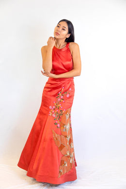 Satin Backless Gown with Heavy Hand Embroidery