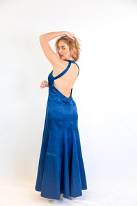 Satin Backless Gown with side Embroidery