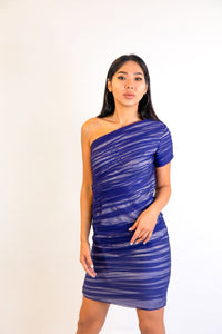 Silver and Blue One Shoulder Rushed Dress