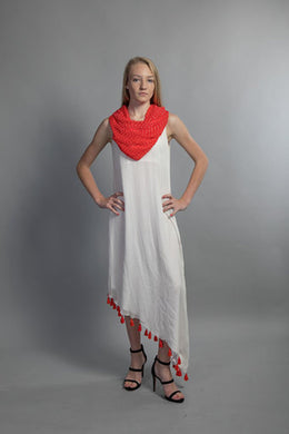 White dress with Cowl Neck