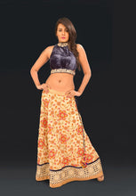 Yellow Embroided Georgette Lehnga with Blue Velvet Zardozi Embroidery Blouse