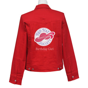 Red Hat Society Birthday Girl Denim Crystal Jacket