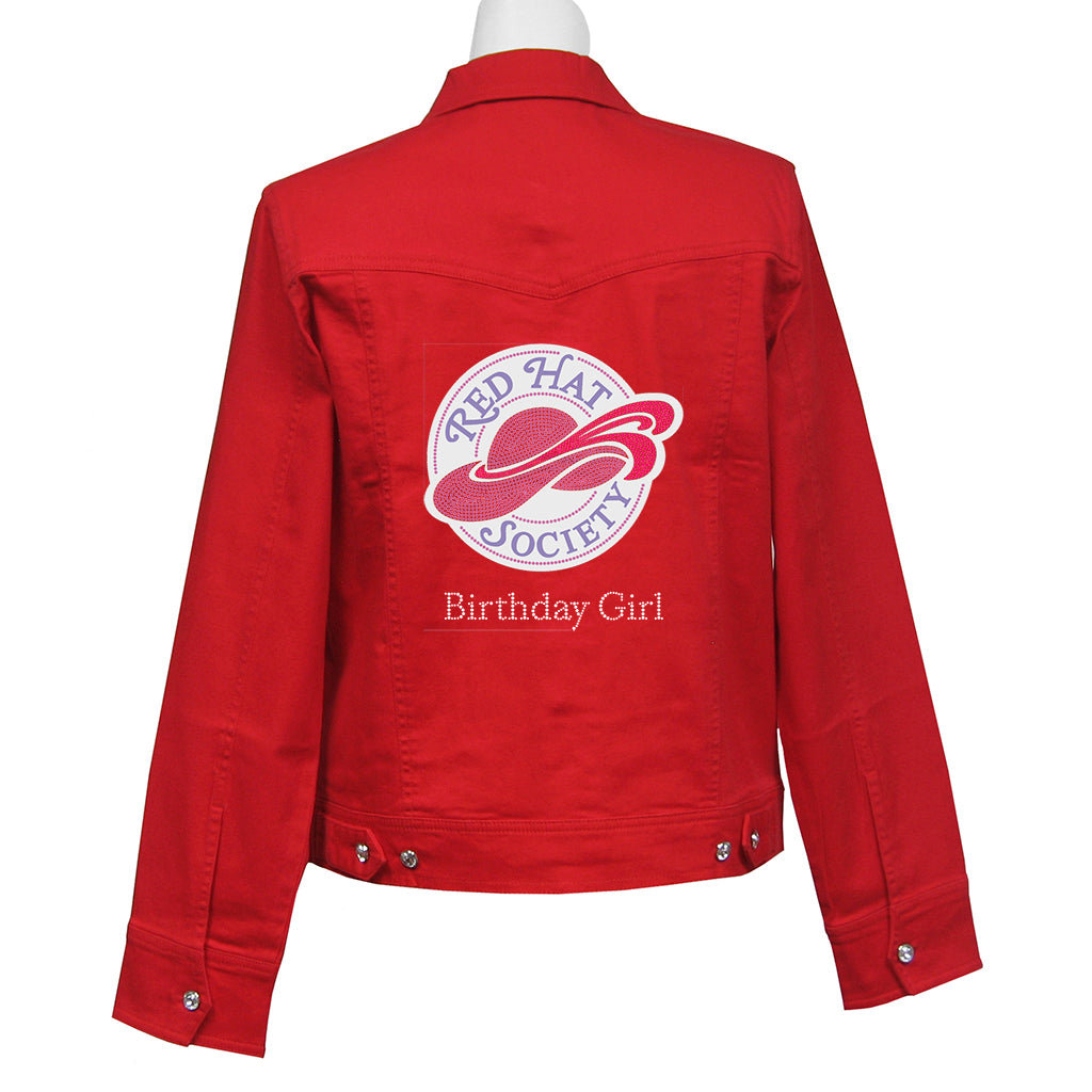 Birthday Girl Denim Crystal Jacket