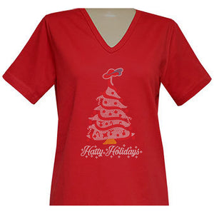 Hatty Holidays Short Sleeve Classic V Neck