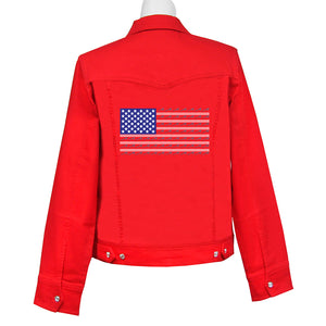 Red Hat Society Americana Denim Crystal Jacket