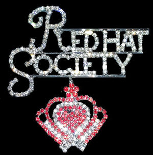 Red Hat Society W/Crown Rhinestone Pin