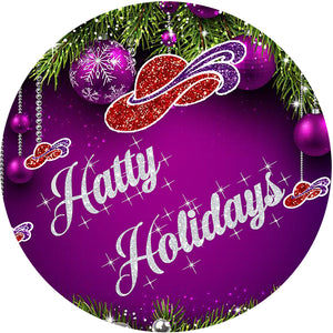 Hatty Holidays Button Pin