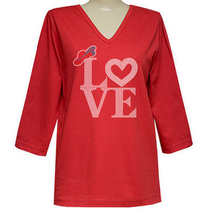 Love of The Hat 3/4 Sleeve Classic V Neck Shirt