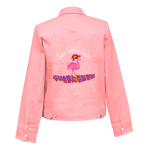 Sunny Flamingo Denim Crystal Jacket
