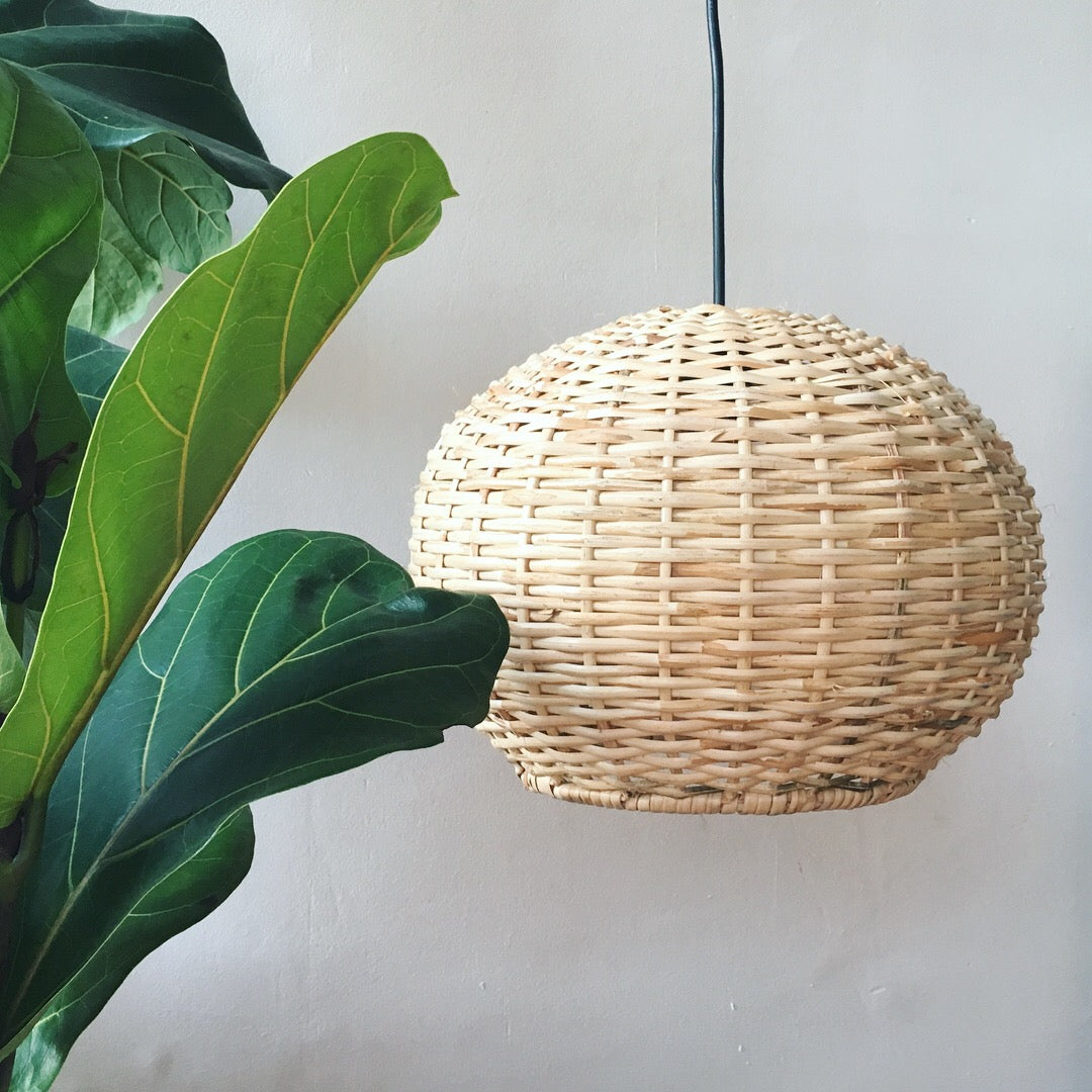 Medium Round Handwoven Cane Hanging Light