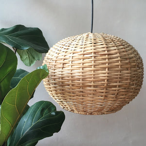Large Round Handwoven Cane Hanging Light