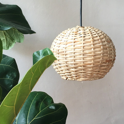 Round Handwoven Cane Hanging Light