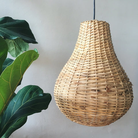 Tear Drop Handwoven Cane Hanging Light