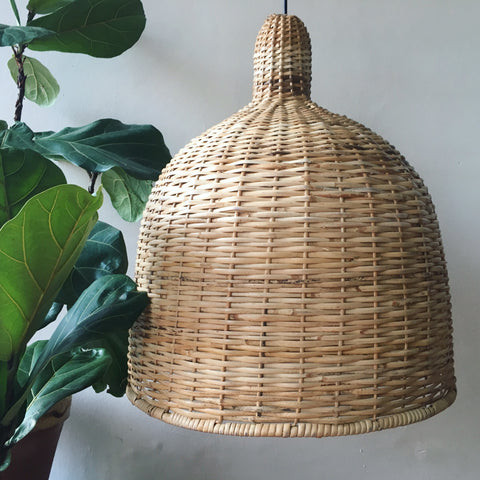 Giant Bell Handwoven Cane Hanging Light