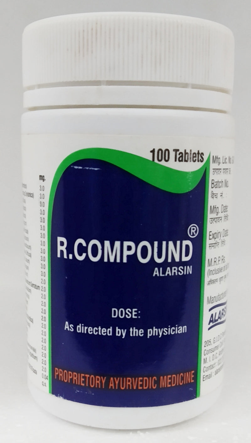 Alarsin R-Compound Tablets 100Tablets (Ayurvedic) - Ayush Care