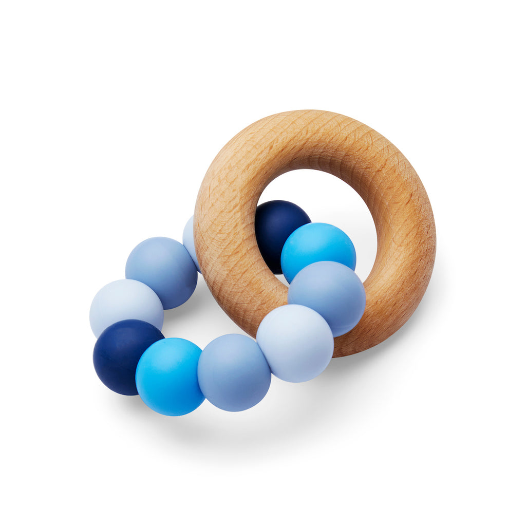 Silicone and Wood Teether Blue