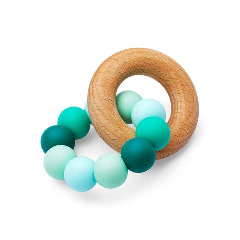 Silicone and Wood Teether Green