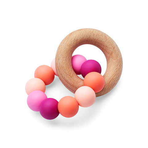 Silicone and Wood Teether Pink